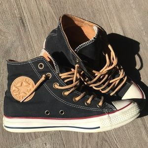 Navy Brushed Cotton Converse Chuck Taylors